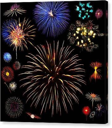 Colorful Are Fireworks Canvas Print by Stanley Mathis