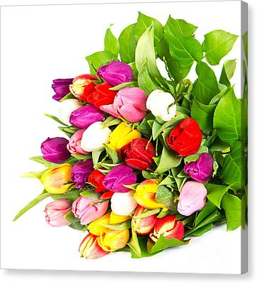 Colorful Flower Bouquets Canvas Print by Boon Mee