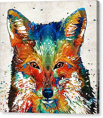 Primary Colors Canvas Print - Colorful Fox Art - Foxi - By Sharon Cummings by Sharon Cummings