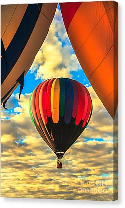 Colorful Framed Hot Air Balloon Canvas Print