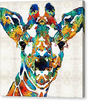 Colorful Giraffe Art - Curious - By Sharon Cummings Canvas Print