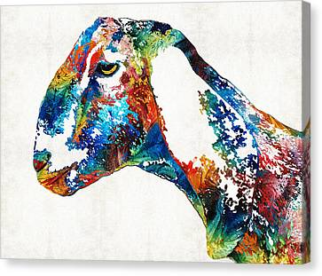Colorful Goat Art By Sharon Cummings Canvas Print by Sharon Cummings