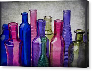 Colorful Group Of Bottles Canvas Print by Garry Gay