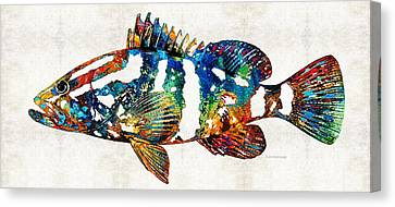 Colorful Grouper 2 Art Fish By Sharon Cummings Canvas Print by Sharon Cummings