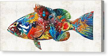 Colorful Grouper Art Fish By Sharon Cummings Canvas Print by Sharon Cummings