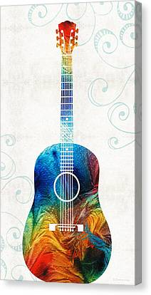Colorful Guitar Art By Sharon Cummings Canvas Print by Sharon Cummings