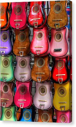 Colorful Guitars Canvas Print by Tony  Colvin