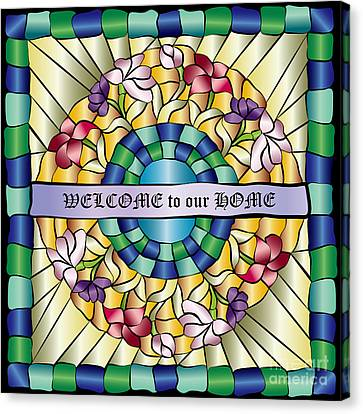 Colorful Hand-drawn Jewel Stained Glass Flowers Canvas Print by Beverly Claire Kaiya