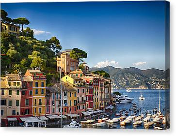 Colorful Harbor Houses In Portofino Canvas Print by George Oze
