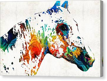 Horse Stable Canvas Print - Colorful Horse Art - Wild Paint - By Sharon Cummings by Sharon Cummings