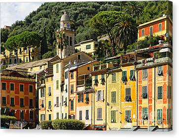 Colorful House Facades Of Portofino Canvas Print by George Oze