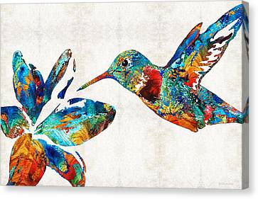Canvas Print featuring the painting Colorful Hummingbird Art By Sharon Cummings by Sharon Cummings