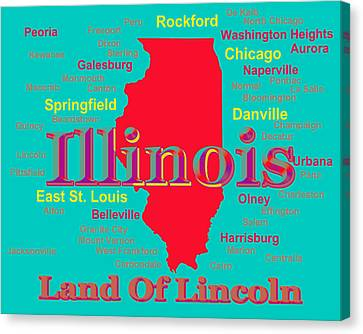 Pontiac Canvas Print - Colorful Illinois State Pride Map Silhouette  by Keith Webber Jr
