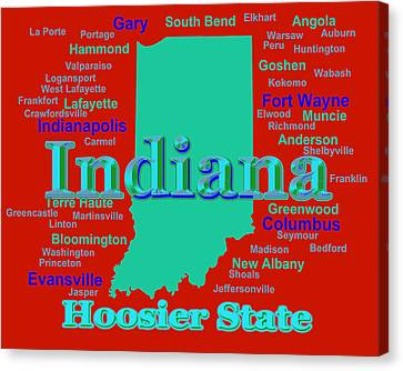 Colorful Indiana State Pride Map Silhouette  Canvas Print by Keith Webber Jr