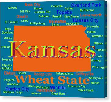 Colorful Kansas State Pride Map Silhouette  Canvas Print by Keith Webber Jr