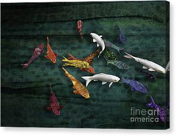 Colorful Koi Meditation Mixed Media By Modern Artist Canvas Print by Jani Bryson