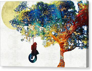 Thinking Canvas Print - Colorful Landscape Art - The Dreaming Tree - By Sharon Cummings by Sharon Cummings