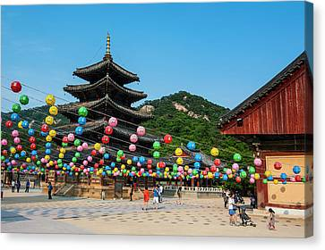 Colorful Lanterns In The Beopjusa Canvas Print by Michael Runkel