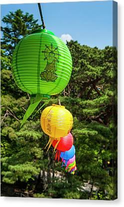 Colorful Lanterns In The Bulguksa Canvas Print by Michael Runkel