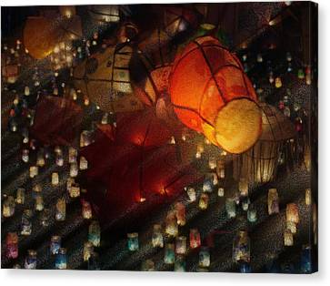 Colorful Lanterns Canvas Print by Zinvolle Art