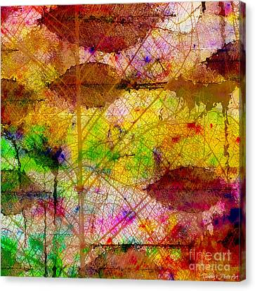 Colorful Leaves Abstract V Canvas Print by Debbie Portwood