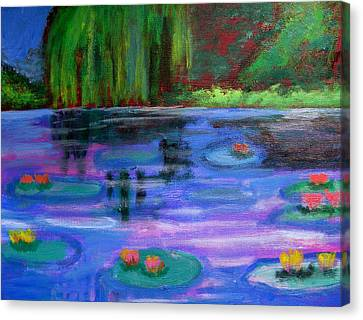 Colorful Lilly  Pad Flowers After Monet Canvas Print by Diana Riukas