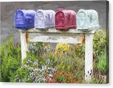 Colorful Mailboxes And Flowers Painterly Effect Canvas Print by Carol Leigh