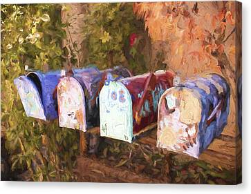Colorful Mailboxes Santa Fe Painterly Effect Canvas Print by Carol Leigh
