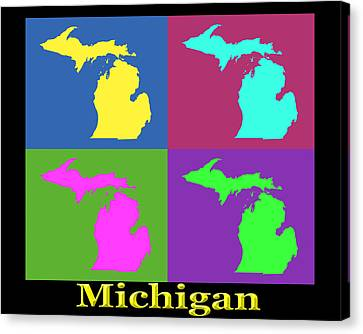 Colorful Michigan State Pop Art Map Canvas Print by Keith Webber Jr