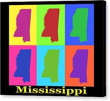 Colorful Mississippi State Pop Art Map Canvas Print