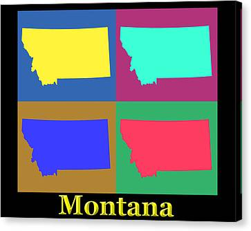 Colorful Montana State Pop Art Map Canvas Print by Keith Webber Jr