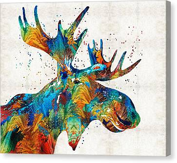 Art Sale Canvas Print - Colorful Moose Art - Confetti - By Sharon Cummings by Sharon Cummings