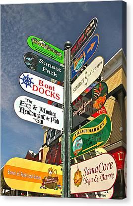 Colorful Mount Dora Signs Canvas Print