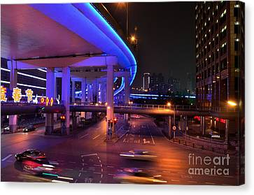 Colorful Night Traffic Scene In Shanghai China Canvas Print