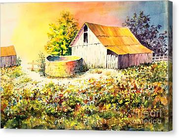 Colorful Old Barn Canvas Print by Pattie Calfy
