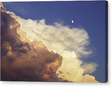 Colorful Orange Magenta Storm Clouds Moon At Sunset Canvas Print by Keith Webber Jr