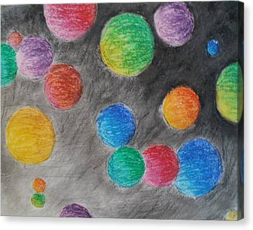 Canvas Print featuring the drawing Colorful Orbs by Thomasina Durkay