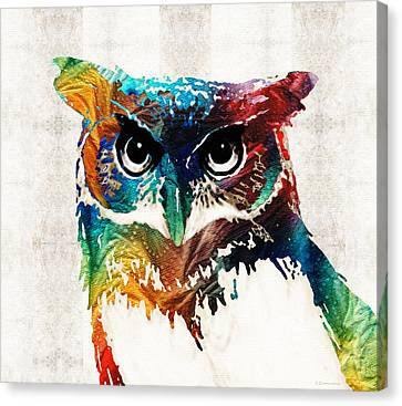 Wild Canvas Print - Colorful Owl Art - Wise Guy - By Sharon Cummings by Sharon Cummings