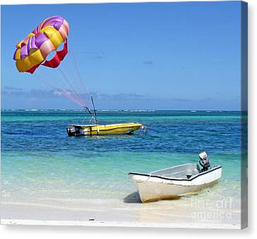Canvas Print featuring the photograph Colorful Parachute - Waiting To Parasail by Val Miller