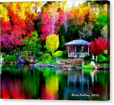 Canvas Print featuring the painting Colorful Park At The Lake by Bruce Nutting