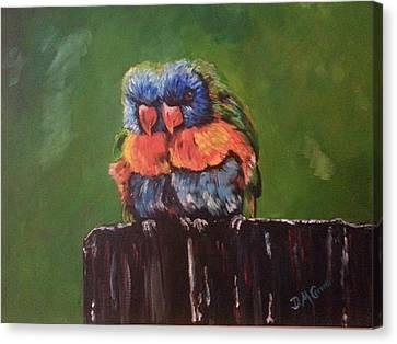 Colorful Parrots Canvas Print