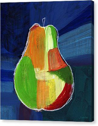 Colorful Pear- Abstract Painting Canvas Print by Linda Woods