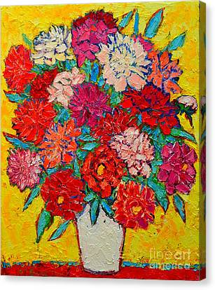 Colorful Peonies Canvas Print by Ana Maria Edulescu