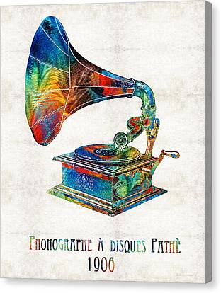 Colorful Phonograph Art By Sharon Cummings Canvas Print by Sharon Cummings