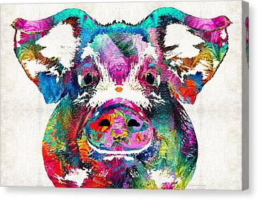 Digital Canvas Print - Colorful Pig Art - Squeal Appeal - By Sharon Cummings by Sharon Cummings