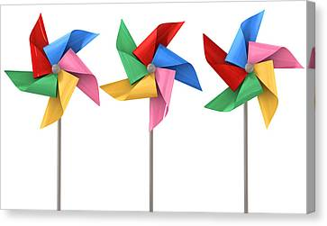 Wind Turbines Canvas Print - Colorful Pinwheels Isolated by Allan Swart