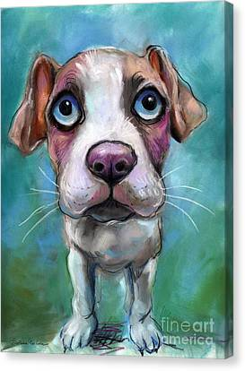 Colorful Pit Bull Puppy With Blue Eyes Painting  Canvas Print