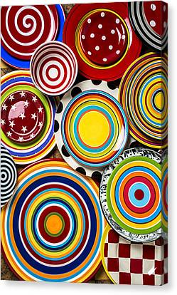 Colorful Plates Canvas Print by Garry Gay