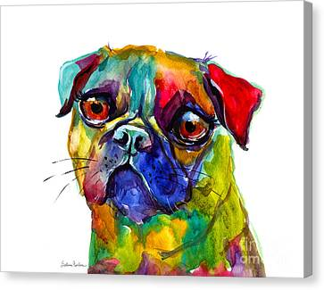 Colorful Pug Dog Painting  Canvas Print by Svetlana Novikova