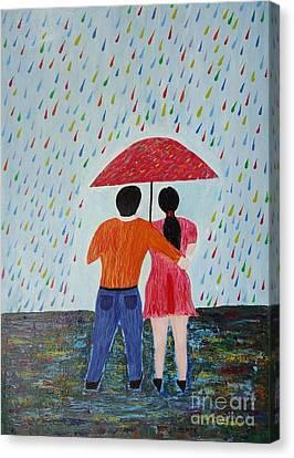 Colorful Rain Canvas Print by Jnana Finearts